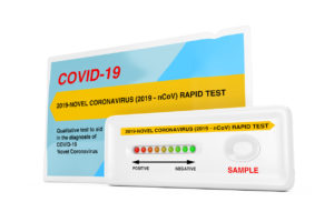Rapid Test Device for Viral Disease Novel Coronavirus COVID-19 2019 n-CoV with Package on a white background. 3d Rendering